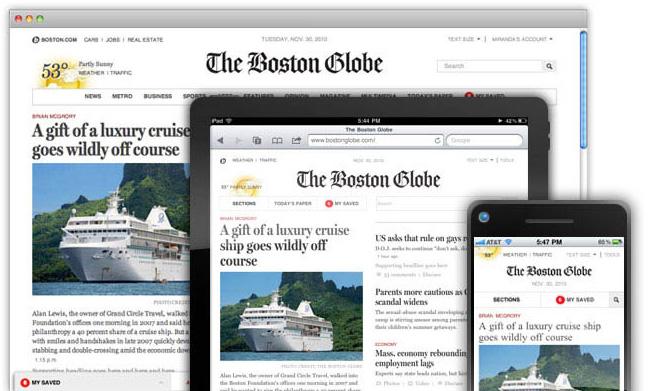 波士顿全球报在电脑、平板、手机上的全貌