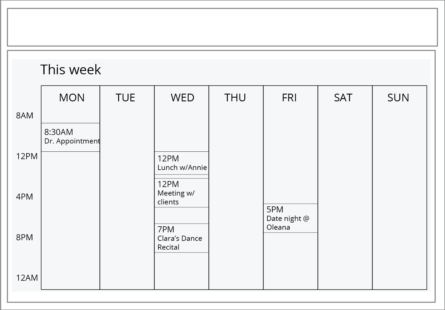 illustration of content component example in schedule page template.