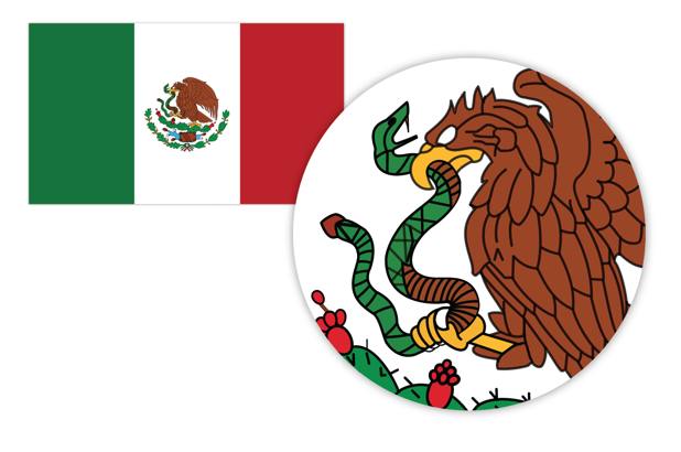 the Mexican flag in vector format showing visual details