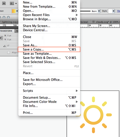 screenshot of adobe illustrator save dialog with 'save as copy' highlighted