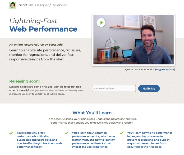 homepage of lightning-fast web performance