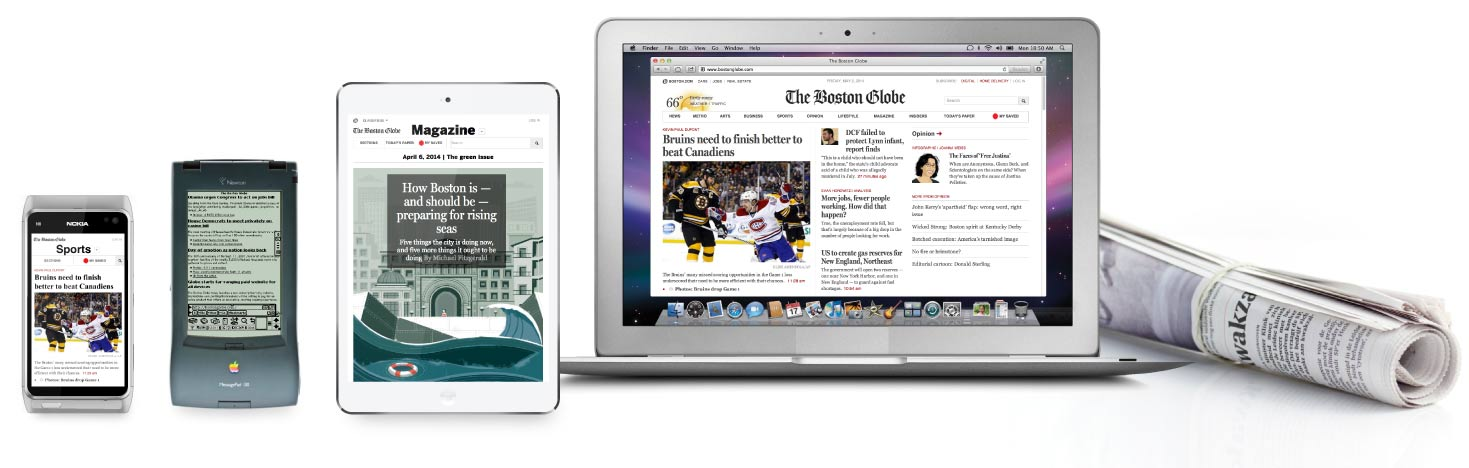 Boston Globe user interface preview