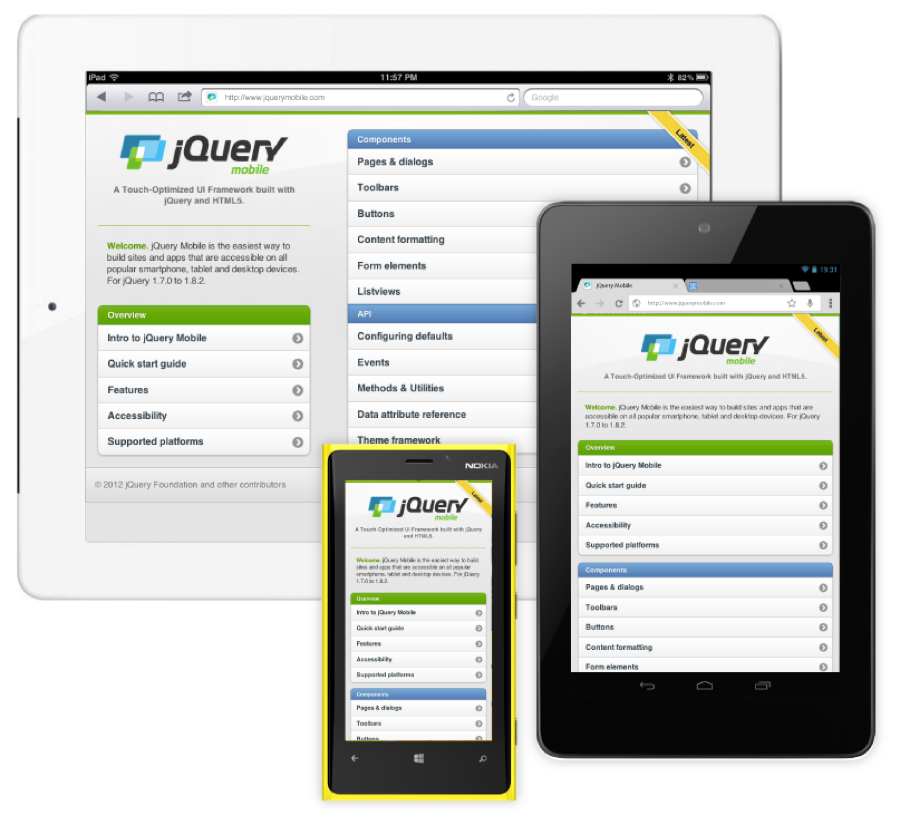 jQuery & jQuery Mobile user interface preview