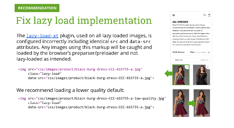 example performance audit slide: image loading tips