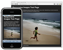 Responsive Image illustration: contextual image sizes shown on iPhone and desktop