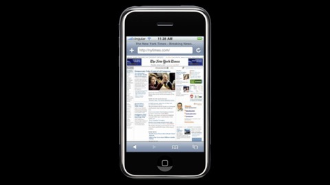 The first image of safari browser on an iPhone, with a zoomed out screenshot of the nytimes