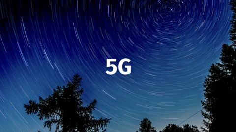 5G text with stars whirling around it