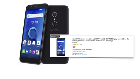 Alcatel 1x device listed on amazon