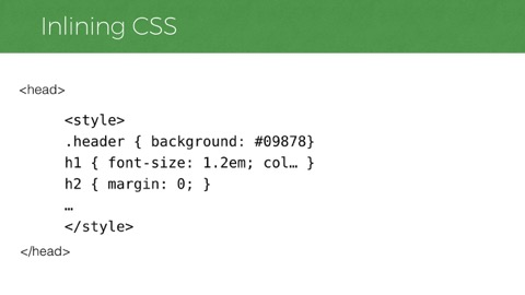 example showing a CSS file contents in a style element
