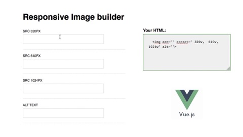 a web form with fields for image sizes