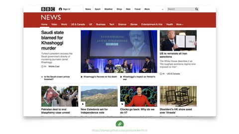screenshot of the bbc homepage